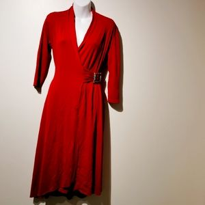 Carilyn Vail red 3/4 sleeve wrap dress small